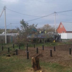 Строительство фундамента на винтовых сваях в Костерёво